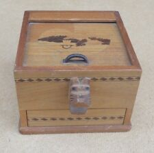 Vintage Japanese Wooden Roll Top Scottie Dog Cigarette Dispenser Box