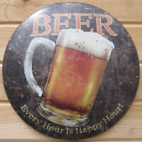 Beer Every Hour is Happy ROUND TIN SIGN vtg metal mug alcohol wall decor bar OHW