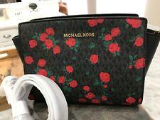 MICHAEL KORS Selma Mixed Media Medium Messenger Crossbody Bag Petite Rose NEW!