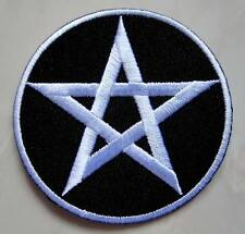 White Pentacle Pentagram Star Round Embroidered Iron on Patch Free Postage