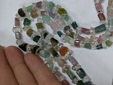 """Wow Gemmy 18"""" Multi Color Tourmaline Watermelon Necklace Strand Beads Double..."""