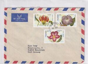 Uganda 593,596,597 BLUME FLOWER FLEUR OSTAFRIKA EAST AFRICA BRIEF COVER NATUR