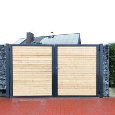 Premium Einfahrtstor Garten-Tor Anthrazit Holz Symmetrisch 2-Flügeltor 350x180cm
