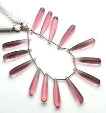 Pink Tourmaline Quartz Lab Smooth Teardrop Beads 8x30mm 14 Pcs (US-365)