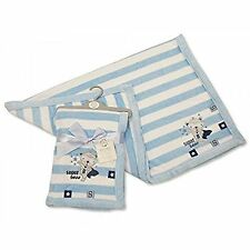 Beautifult Baby Blue Striped Microfleece Snuggle Blanket with Taggs & Embroidere