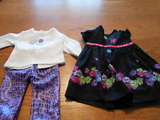 """18"""" Doll Handmade Retired Doll Clothes embroidered dress/purple print pants&tee"""