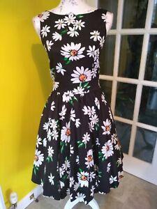 Lady Vintage London Daisy The Days Print Tea Dress Size 8-10