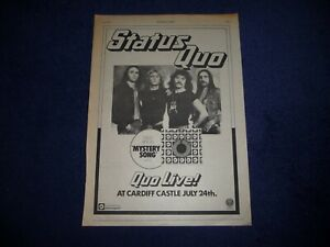 STATUS QUO MYSTERY SONG CARDIFF CASTLE 1976 FULL PAGE ADVERT POSTER SIZE 37/26CM