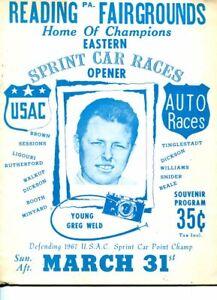READING FAIRGROUNDS AUTO RACE PROGRAM-MAR 31-1968-WELD-RUTHERFORD-vg