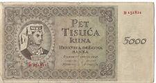 Croatia 5000 Cuna Banknote 1943