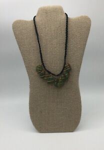 BOHO COPPER WIRE WRAPPED GREEN SEA GLASS CHARM BRAIDED BLACK NYLON NECKLACE