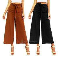 New Women Loose Casual OL Wide Leg Long Pants Trousers Bell-bottom Solid Color