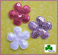 """45- 60 pc x (1 3/8"""") Padded Sequined Felt Spring Flower Appliques for Bow ST505"""