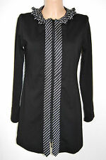 Rayure original robe manteau stretch taille 36 chic noir 229,- d-1156