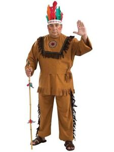 Native American Warrior Costume 3Pc Brown Fringed Faux Suede Shirt Pt Tie Plus