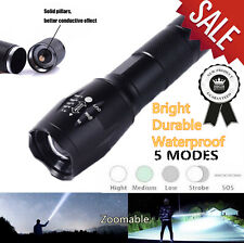 Bright Durable Portable LED Flashlight lamp Torch zoomable Waterproof 5 modes