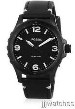 New Fossil Nate Black Leather Band Dress Men Watch 45mm JR1448 $115