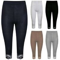NEW WOMENS CROPPED 3/4 KNEE LENGTH LACE TRIM JERSEY LEGGINGS