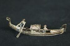 "Antique Chinese SILVER FILIGREE Miniature Gondola Boat 2"" [Y9-W7-A9]"