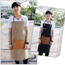 Denim Strap Bib Apron Baker Bartender Chef Uniform Painter Cafe Barista Workwear