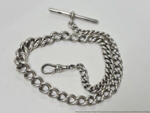 15in Long Sterling Silver Curb Link Victorian Pocket Watch Chain Or Necklace