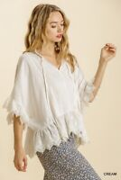 Umgee White Embroidered Lace Linen Blend Tassel Tie Neck Top Size S M L