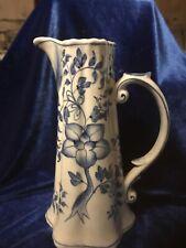 Andrea by Sadek Tall Pitcher Blue & White Floral Lotus? Porcelain Slender Vase