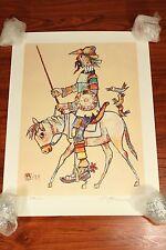 "Vtg Don Quixote Jovan Obican Art 29x22"" Poster Print Artist Hand Signed Numbered"