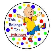 24 Round Personalized CAILLOU Property Name Stickers for school books and more