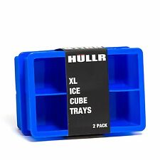 HULLR XL Ice Cube Silicone Trays 2 Pack BPA Free, 2 Inch Cubes