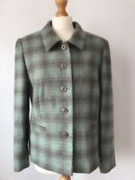 EWM Pure New Wool Green Purple Check Tartan Fitted Blazer Jacket 16 Spring