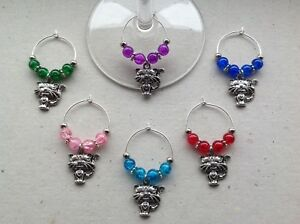 Handmade Set of 6, 8 or 10 Cat Wine Glass Charms, cat lover dinner party gift.