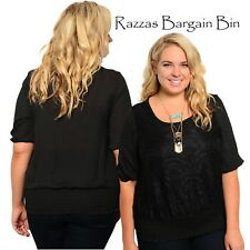 New Ladies Black Top With Lace Overlay Plus Size 14/1XL (9823)LQ