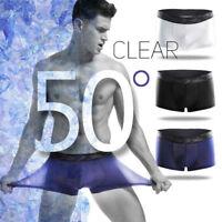 Men's  Sexy Ice Silk Underwear Boxer Brief Thin Elastic Cotton Breathable Newest