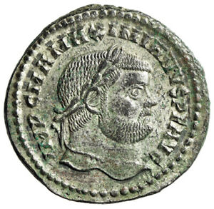 """Maximian Silvered Follis """"Genius of the Romans"""" Cyzicus RIC 12b About EF"""