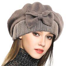 Womens 100% Wool Bucket Hat Felt Cloche Bow Dress Winter Hats Camel