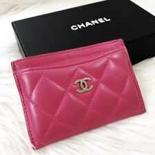 Authentic CHANEL Quilted Lambskin Leather CC Logo Card Holder Case Fuchsia Pink