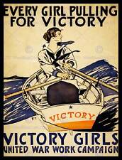 VINTAGE VICTORY GIRLS WAR WORK CAMPAIGN PULLING BOAT ROWING ART POSTER CC5613