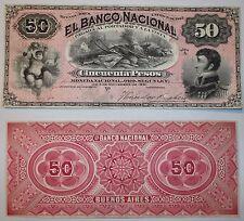 ARGENTINA PROOF BANCO NACIONAL $50 1883  AU  P.s 681p  BAUMAN BN-125p