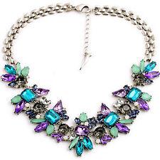Fashion Women Crystal Pendant Chain Silver Plated Bib Statement Choker Necklace-