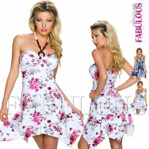 New European Padded Halter Dress Floral Print Summer Party Size 6 8 10 XS S M
