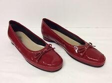 03907bf502f ROS HOMMERSON SZ 6.5 S CHERRY RED PATENT LEATHER BALLET SLIP ON FLATS BOW  TIE