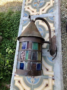 Large Antique 1920's Tudor/Spanish Revival Porch Light Sconce Stained Glass