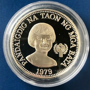 1979 Philippines 50 Piso Silver Proof International Year of the Child