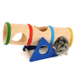 Hamster Seesaw Toy Wooden Tunnel Rat Gerbil Small Animal Tube Cage Play Toy Fun