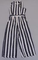 Boohoo Women's Sleeveless Wide Stripe Culotte Jumpsuit SH3 White Size US:4 NWT