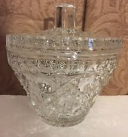 "Crystal Candy Dish Bowl 7 1/2"" Tall With Lid"