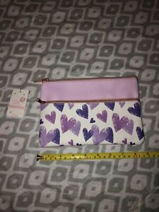 Faux Leather Pouch With Purple Hearts.