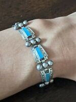 """Vintage 925 Sterling Silver TAXCO Mexico Turquoise Inlay Bracelet 6.75"""""""