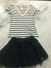 girls outfit Abercrombie Kids Blue pleated Skirt with Tennis top L 14 others